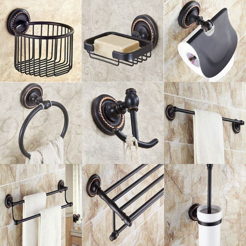 Bathroom Accessories Black Oil Brass Collection Towel Ring Paper