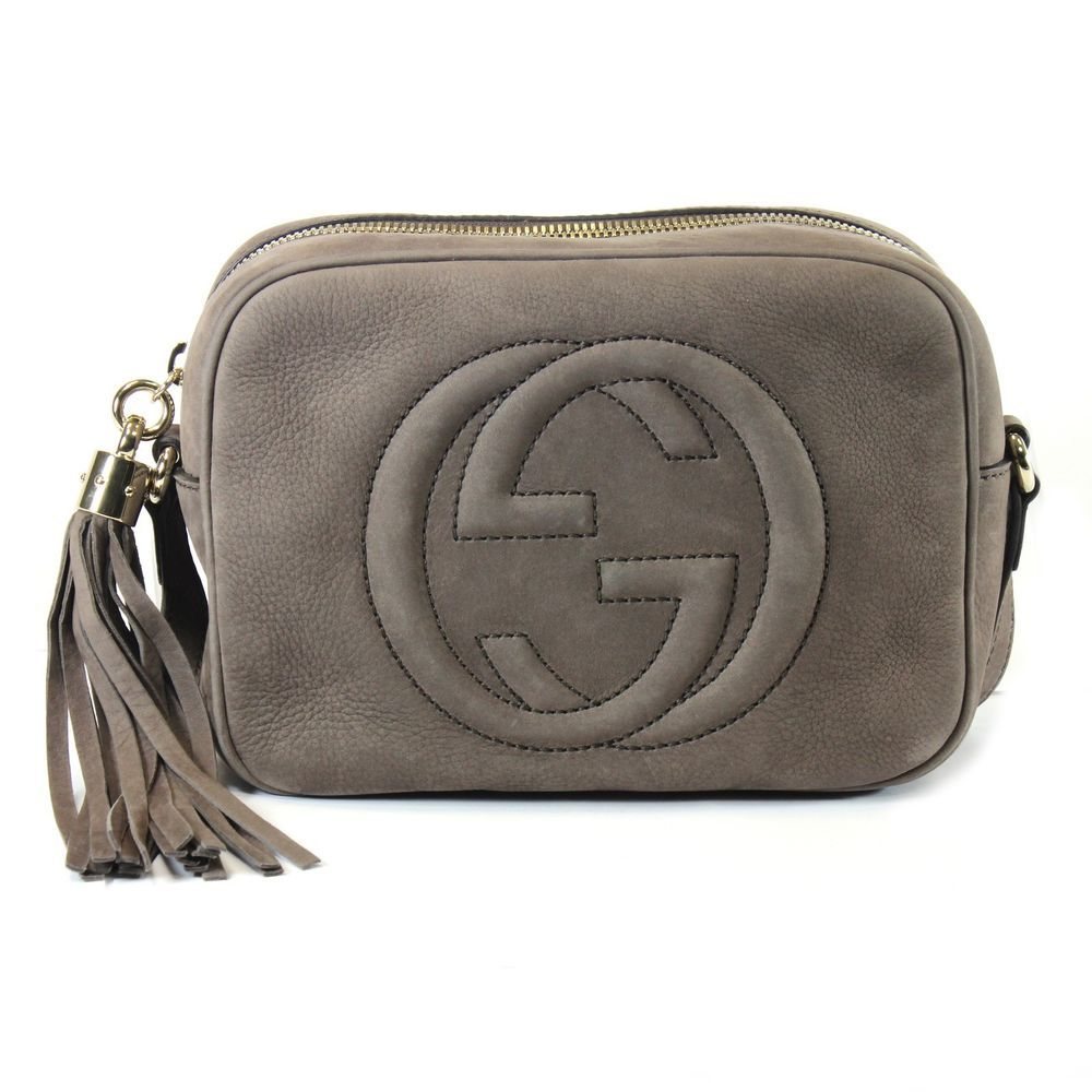 1c337da676e0a GUCCI Soho Disco Crossbody Grey Nubuck Leather Bag 308364  Gucci   ShoulderBag