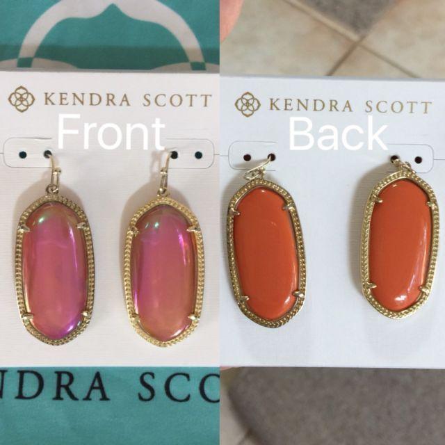Kendra Scott Elle Reversible Earrings Iridescent Tangerine Pink Ut Burnt Orange