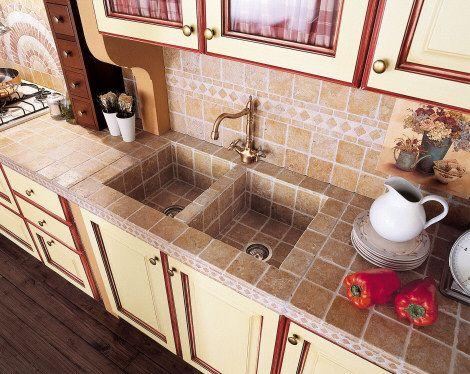 Built-in tiled sink.