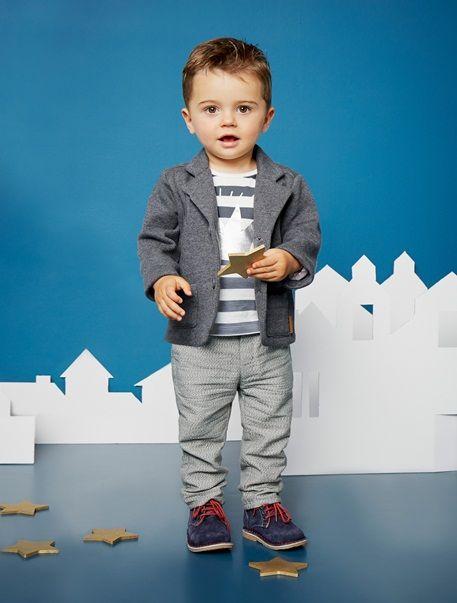 Conjunto camiseta + pantalón + chaqueta bebé niño - GRIS A RAYAS BLANCO - 3 741a29b2e6e64