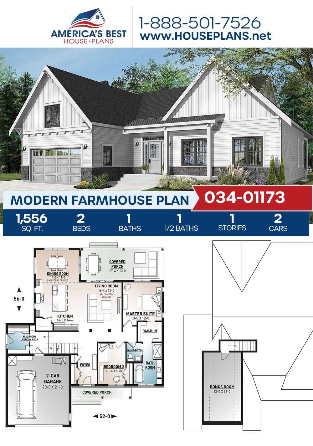 House Plan 034 01173 Modern Farmhouse Plan 1 556 Square Feet 2 Bedrooms 1 5 Bathrooms Modern Farmhouse Plans Small House Exteriors Farmhouse Plans