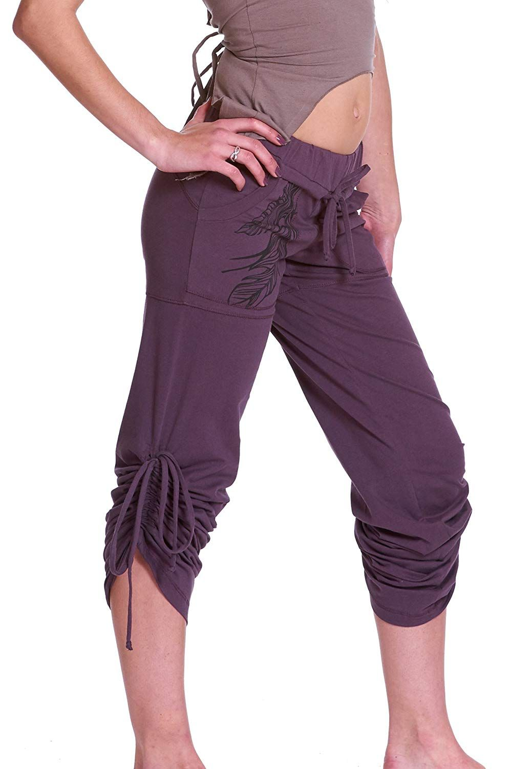 2b9115bb41 Organic Yoga Pants, Organic Cotton Leggings, Hoop Wear, Feather Print Two- Way