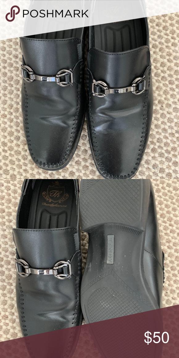 Tandy Men's Black Leather Shoes size 8 5 Tandy Men's Black