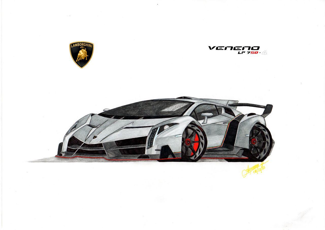 Lamborghini Veneno, dibujo a lápiz - técnica caricatura