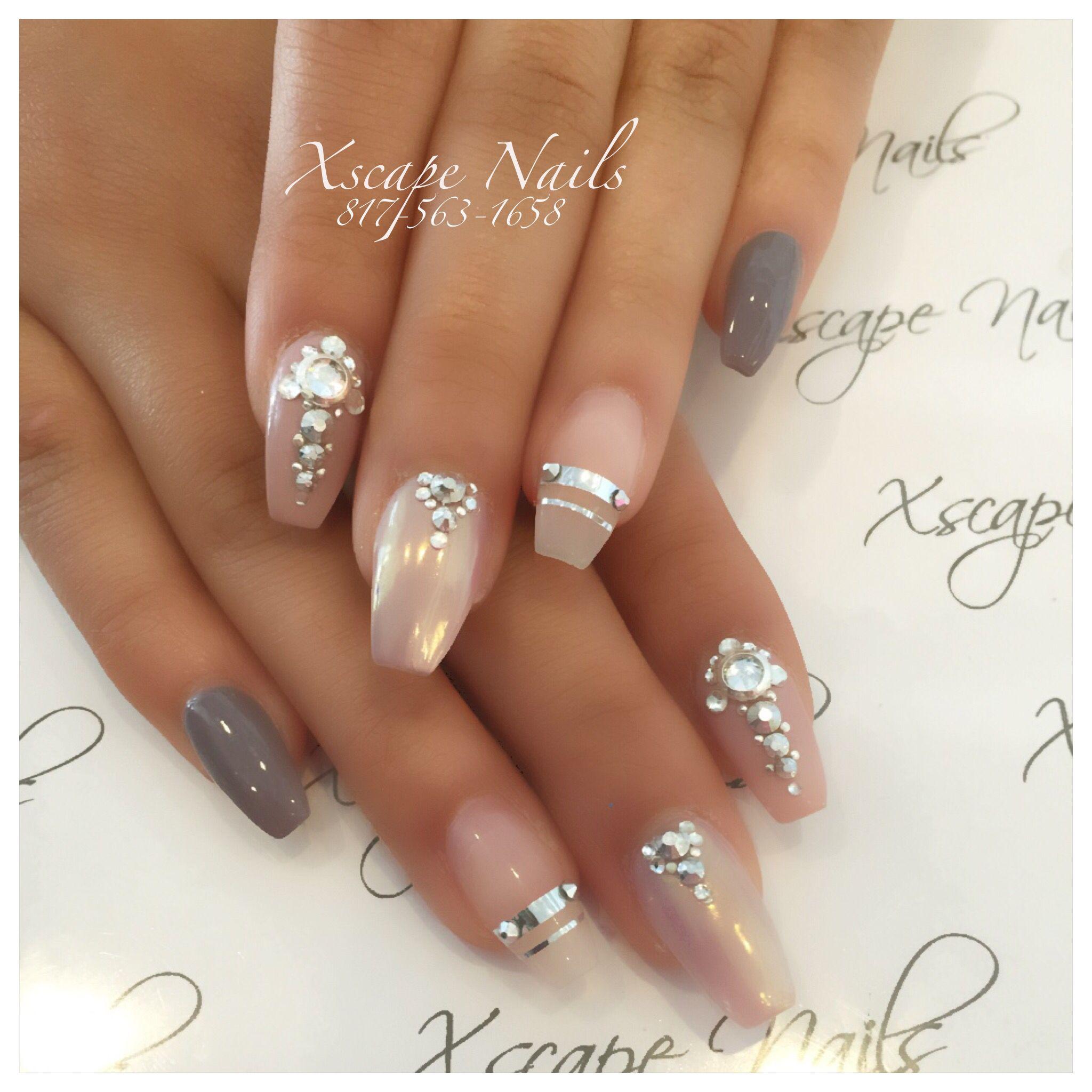 Chrome plum tribal coffin fall nails | Cute Nails Designs | Pinterest