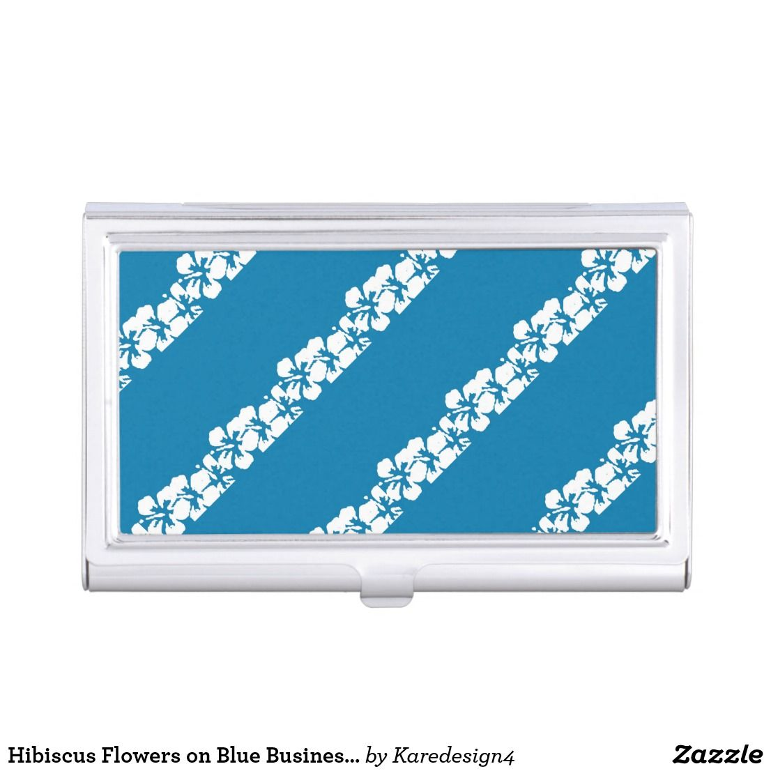 Hibiscus Flowers on Blue Business Card Case