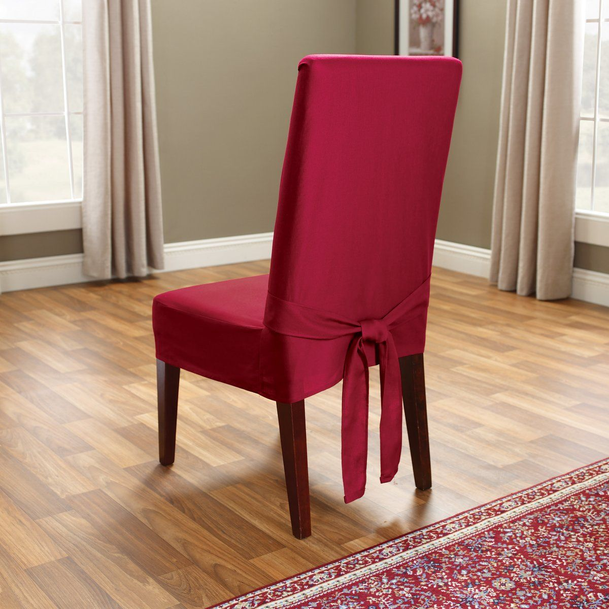 Romantic Red Slipcovers For Dining Room Chairs With Admirable Wooden Floor  And Red Rug Part 5