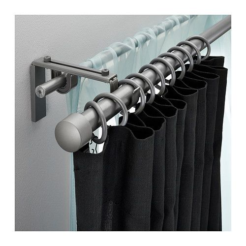 Racka Hugad Double Curtain Rod Combination Silver Color Ikea