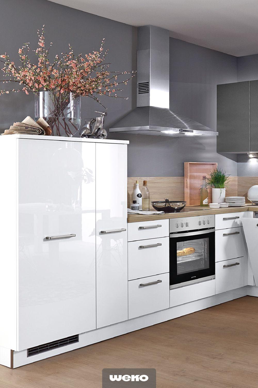 Moderne Einbaukuche Mit Hochglanz Front Kuche Hochglanz Einbaukuche Kuche Hochglanz Weiss