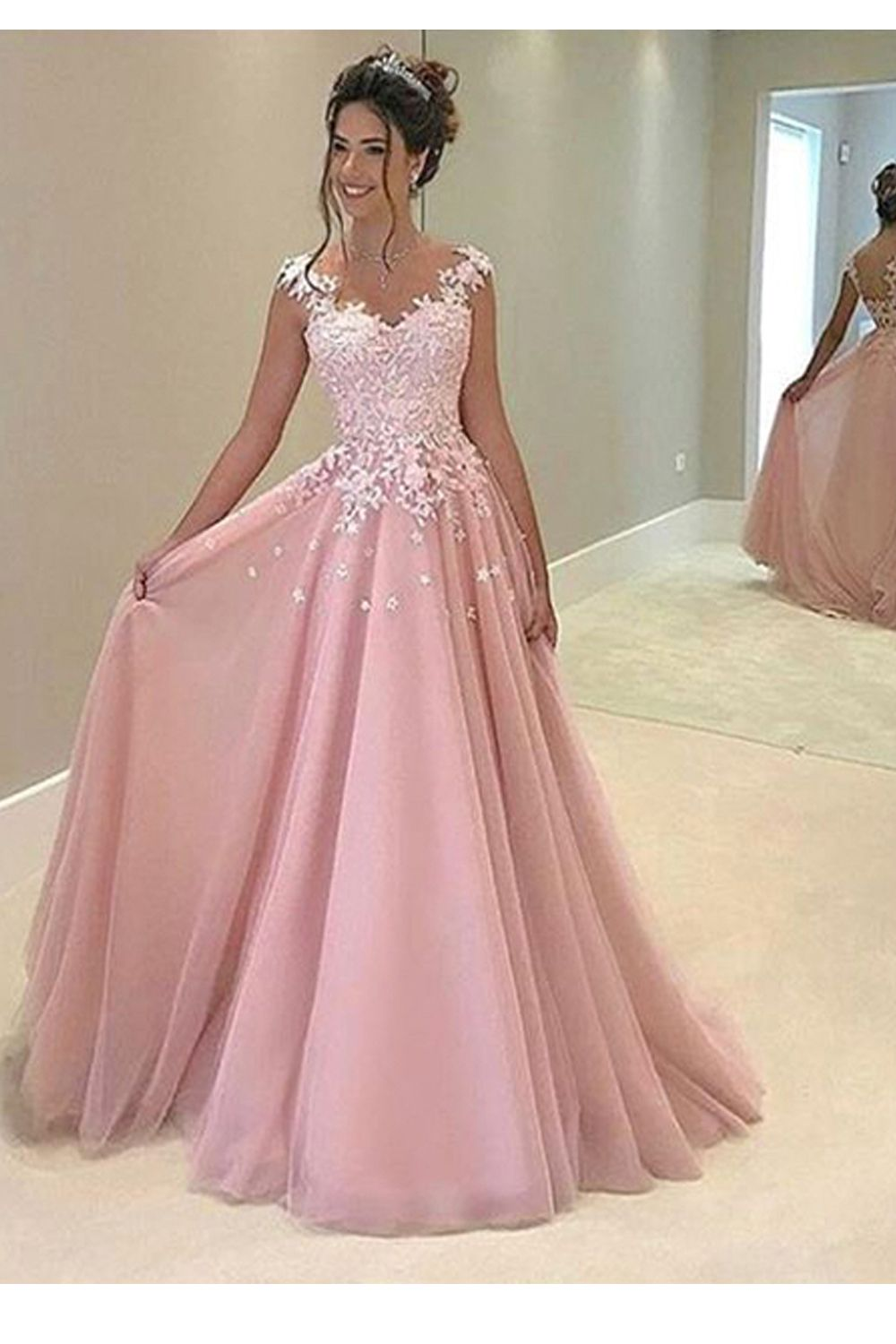 A Line Long Pink Lace Prom Dresses Formal Evening Gowns 24817 From Luckdresses In 2021 Prom Dresses Long Pink Prom Dresses For Teens Pink Evening Dress [ 1500 x 1000 Pixel ]