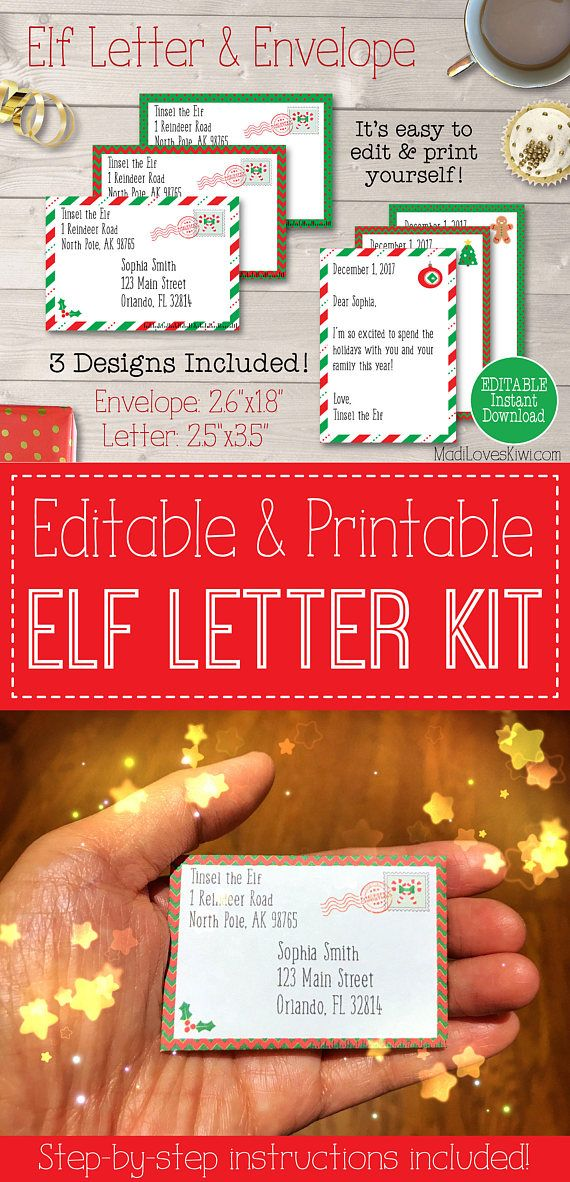 Personalized Mini Elf Letter with Envelope Printable
