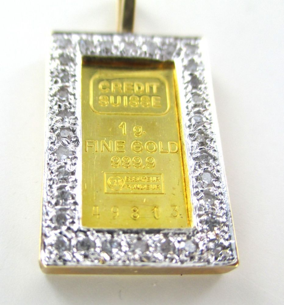 14k Solid Yellow Gold Credit Suisse 1 Gram Gold Bar 999 9 Pendant 32 Diamonds Gold Yellow Gold Gold Diamond