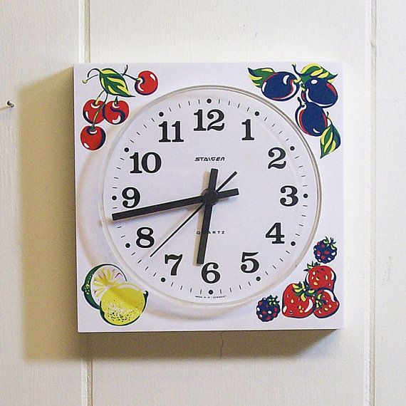 vintage wall clock white with fruit battery operated via on wall clocks battery operated id=62188