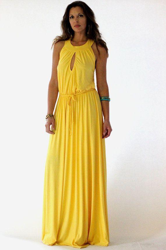 Yellow Maxi Jersey Summer Dress   Maxi Dresses   Pinterest ...