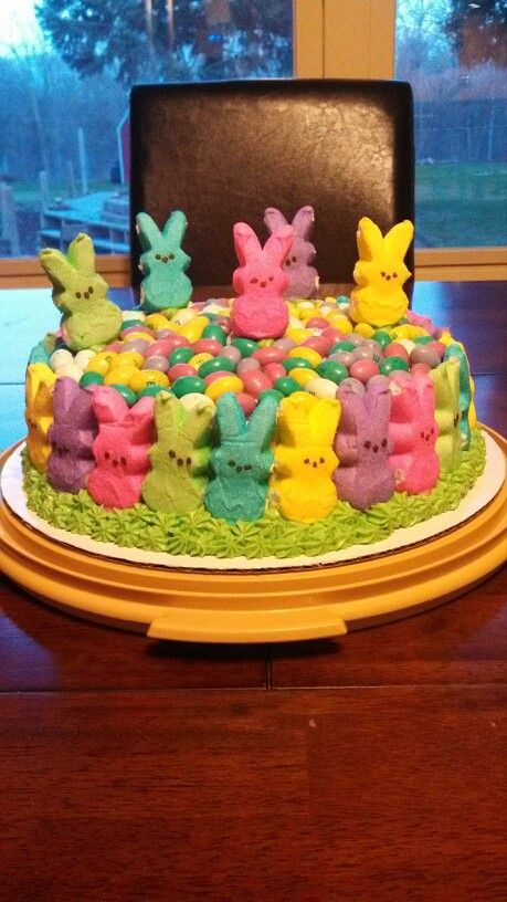 Easter cake using bunny Peeps and egg shaped M&M's
