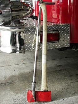 """This combination of tools is known as the """"Irons"""". The Halligan bar and Ax are used for ventilation and forcible entry. It is a very useful combination of tools a firefighter may carry on a fire scene."""