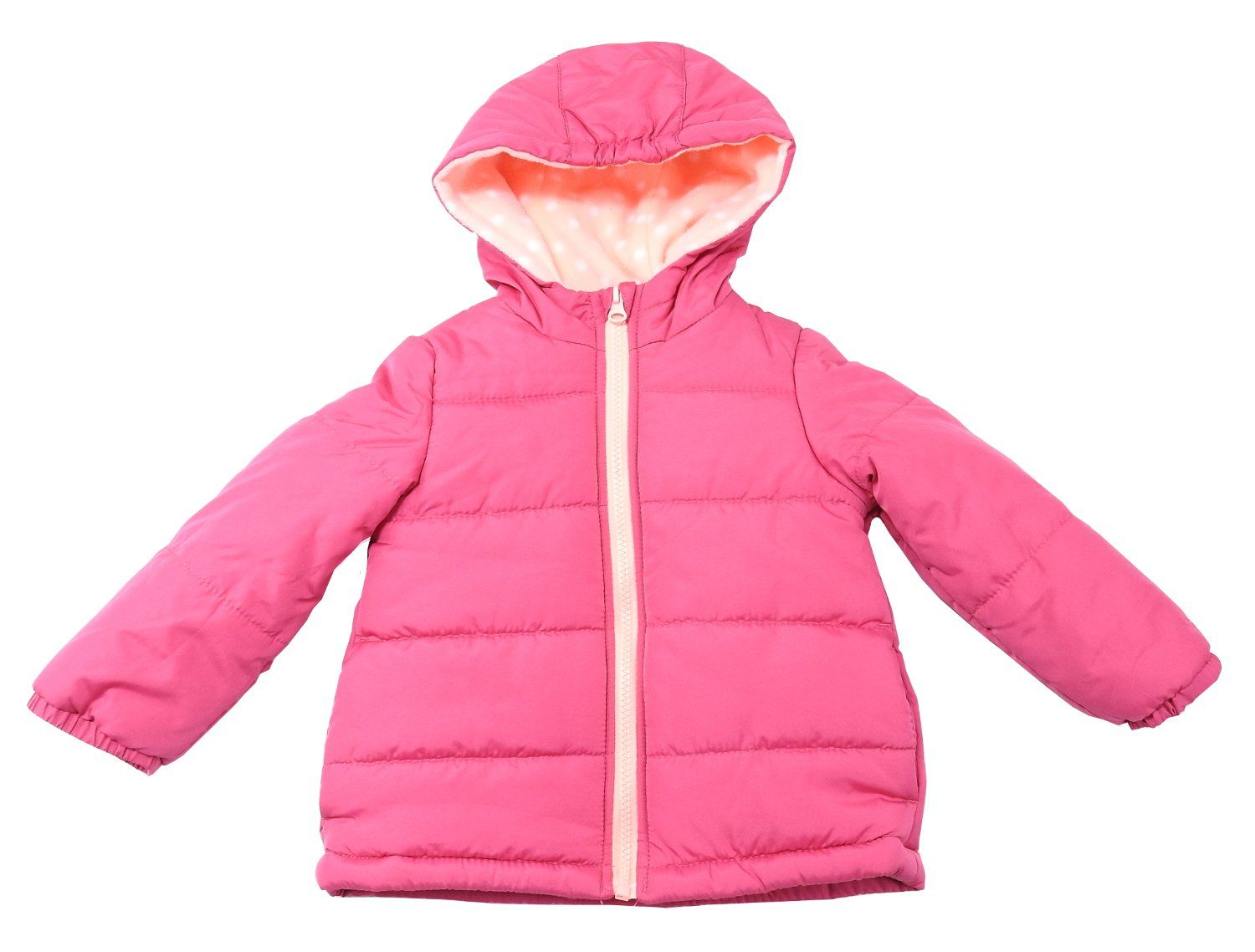 Carter's Baby Girls Size 2T Full Zip Hooded Jacket, Pink. Carter's Baby Girls Full Zip Hooded Jacket. Size: 2T. Color: Pink. Material: 100%-Polyester. Care: Machine Wash Cold W/Like Colors, Tumble Dry Low.