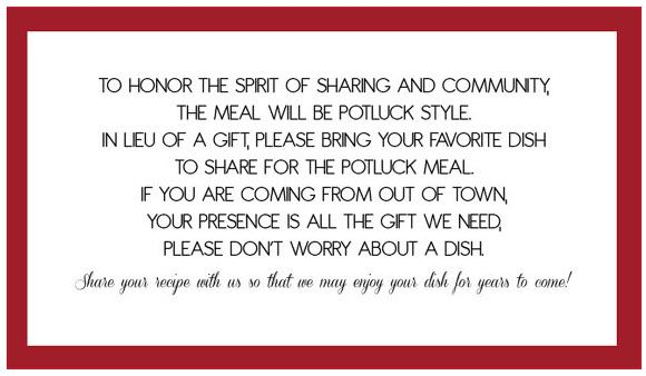 Potluck Wedding Reception Wording Holding place for Happenin - birthday invitation wording no gifts donation