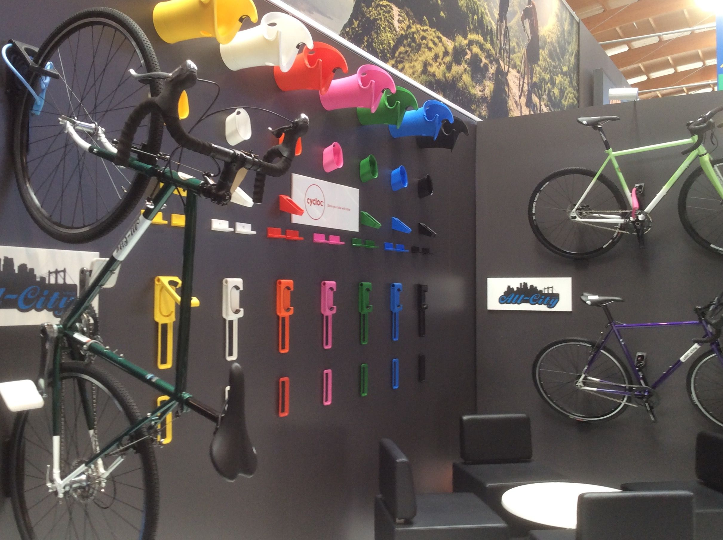 Look jeremy s bicycle rack apartment therapy - Eurobike 2015 Cycloc Display With The Endo And Hero Bike Storage With Style Www