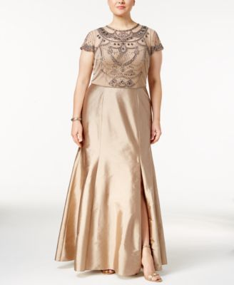 Adrianna Papell Plus Size Beaded Popover Gown | macys.com ...