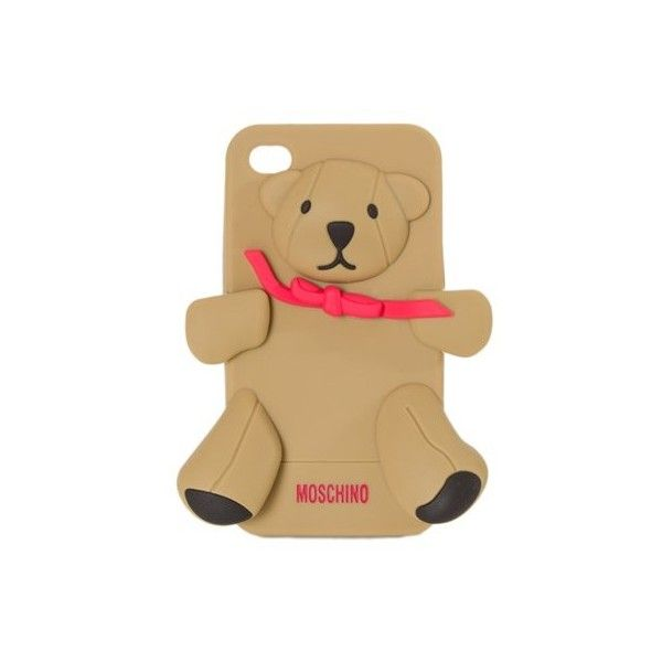Moschino iPhone 4/4S Cover ($45) ❤ liked on Polyvore featuring accessories, tech accessories, beige and moschino