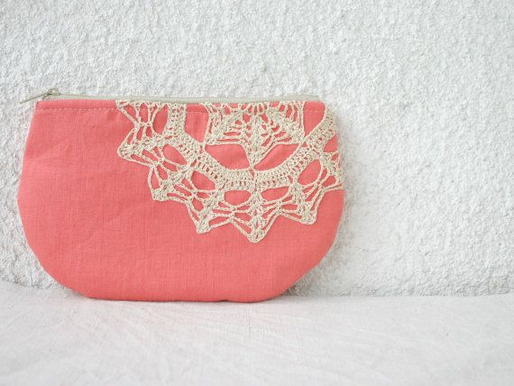 Linen and vintage doily small clutch zipper pouch by HelloVioleta, $20.00 http://www.etsy.com/treasury/MTAyNzUxOTN8MjcyMDMwODI3Nw/impression-still-life