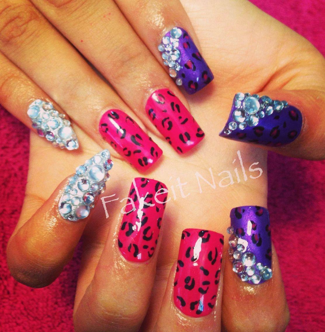 Leopard print & diamond acrylic nails by Fakeit Nails | Fakeit Nails ...