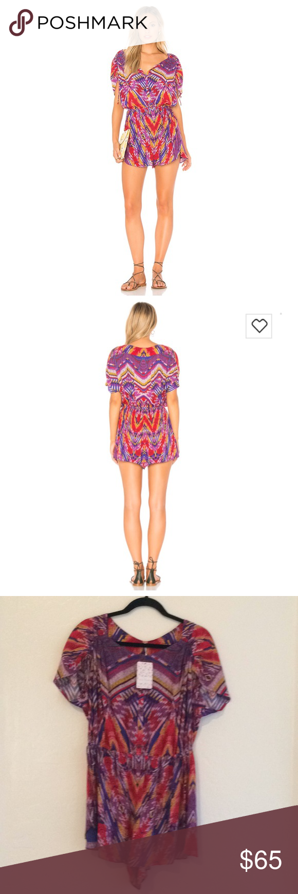 50d4cd1526d9 Free People Dream All Night Romper Free People Dream all Night Romper.  Front button closure. Shirred shoulders with tie sleeves.