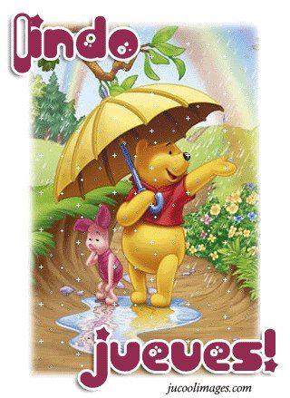 Lindo Jueves Lluvioso Con Imagen De Pooh Imagenes Y Frases Para