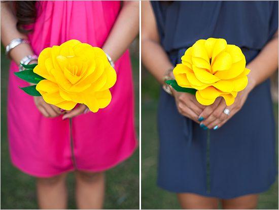 bridesmaid paper flower bouquets