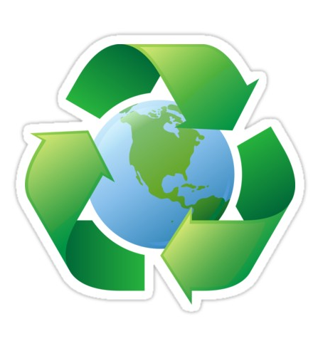 Earth Recycling Symbol Stickers And Tote Bag Sticker By Mhea