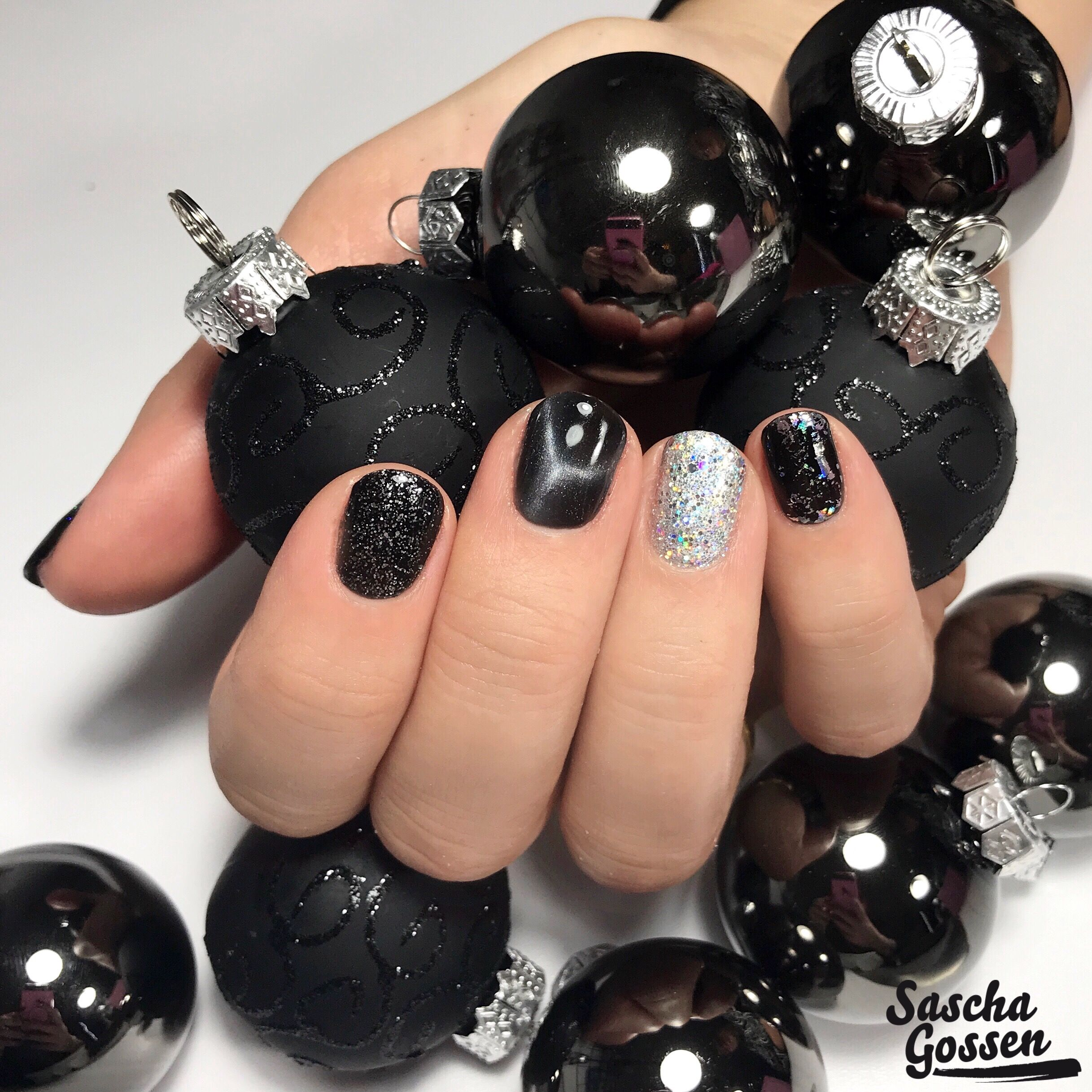 Black Againtutal Nails With With Cnd Shellac Black Pool
