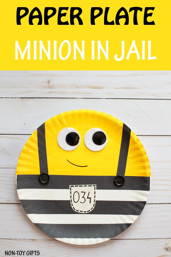 Paper plate Minions in jail craft for kids.  at Non-Toy Gifts  sc 1 st  Pinterest & Paper plate Minions in jail craft   Toy Craft and Gift