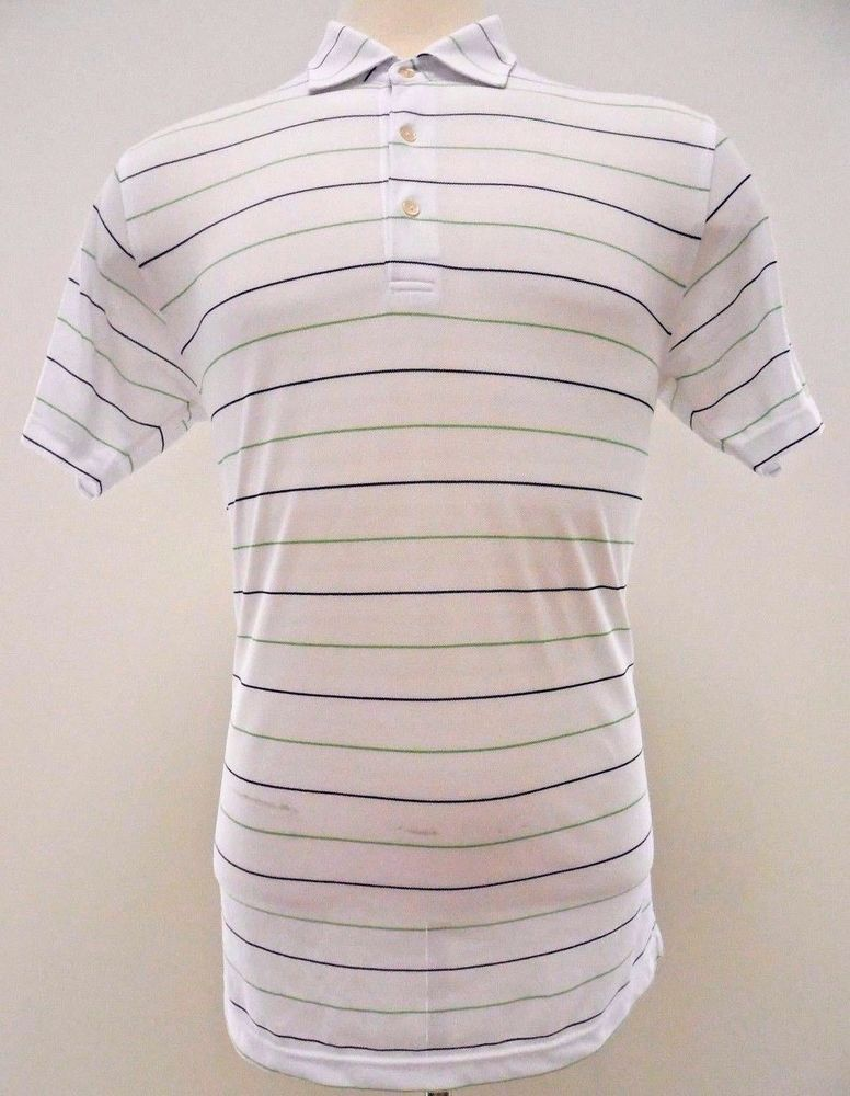 a733eb47049b PETER Millar SUMMER Comfort POLO Large L White STRIPED Multicolor POLYESTER  Golf…