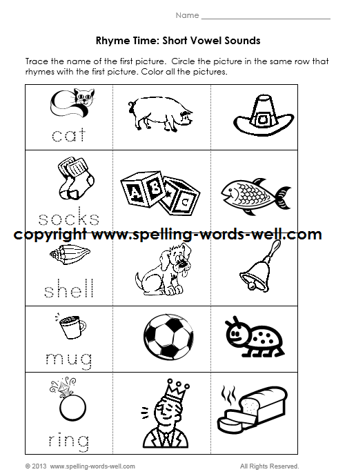 Phonics can best be learned through hearing reading and writing – Rhyming Words Worksheet Kindergarten