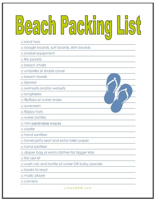 Beach Packing List - Free Printable from Beach packing lists