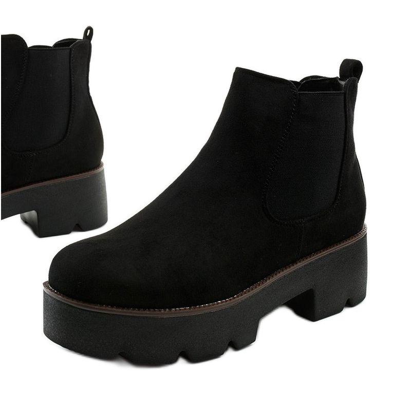 Czarne Zamszowe Botki Na Platformie Arnlando Chelsea Boots Boots Shoes