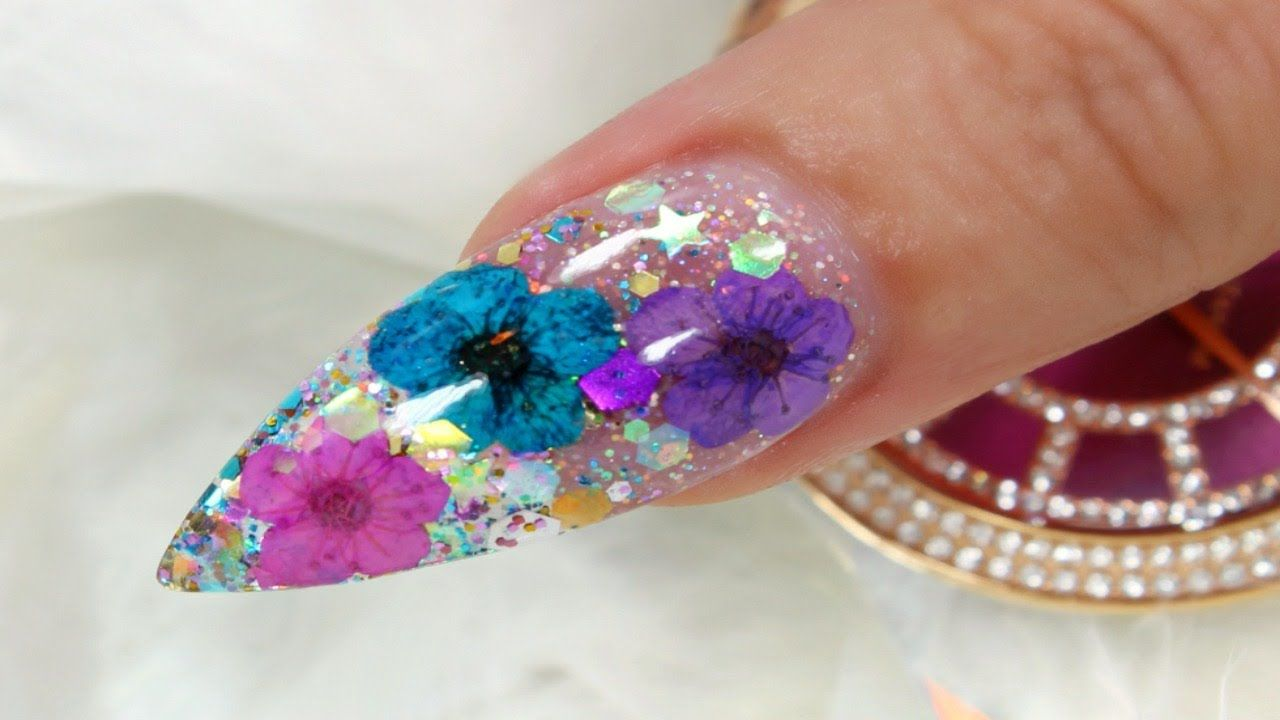 REAL DRIED FLOWERS AND GLITTER NAIL ART TUTORIAL STEP BY STEP VIDEO ...
