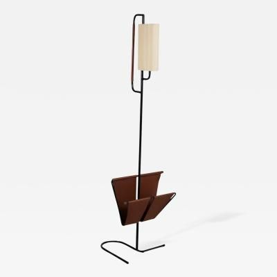 Jacques Adnet Floor Lamp With Magazine Rack By Jacques Adnet Lamp Floor Lamp Floor Lamp Lighting