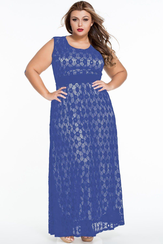e2cae3fdde53d Lace Overlay Maxi Dress Plus Size – DACC