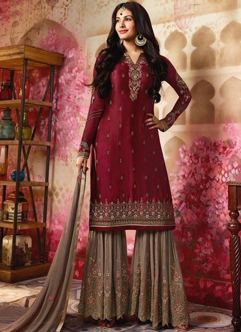2a983ccdc0 Buy Amyra Dastur Maroon Embroidered Sharara Suit online, SKU Code:  SLSCCH254012. This Maroon color Party sharara suit for Women comes with  Embroidered Faux ...