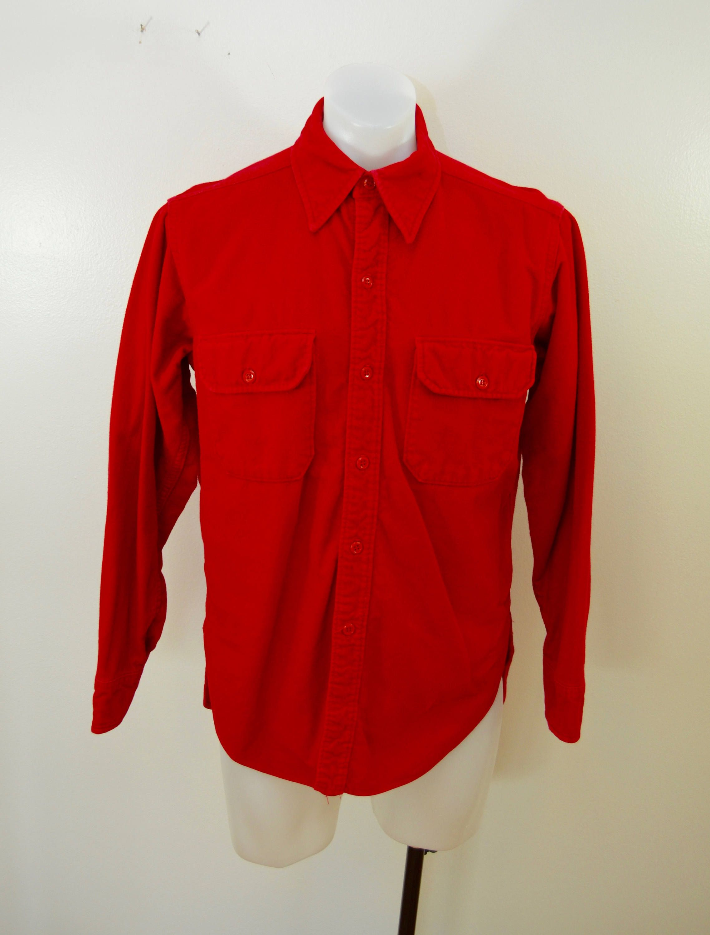 8901e2b3bce Vintage WOOLRICH Red Chamois Shirt long sleeve made in USA size large or xl  by ilovevintagestuff on Etsy