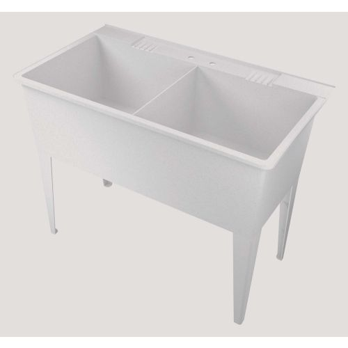American Shower And Bath Heavy Duty 38 Gal Double Utility Tub 102002 Ace Hardware White Granite Utility Sink White