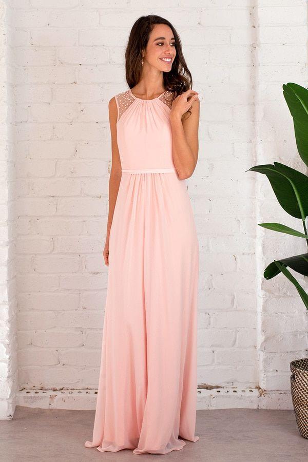 f0a7a595fa0 Long peach bridesmaid dress. Shoulder detail blush wedding theme. Marie  Sleeveless Chiffon Formal Dress