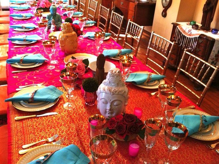 Indian Dinner Party Ideas Part - 36: Sari Tablecloths | Sari Tablecloth | Indian-inspired Dinner Party