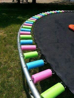 Cover your trampoline springs with pool noodles!!