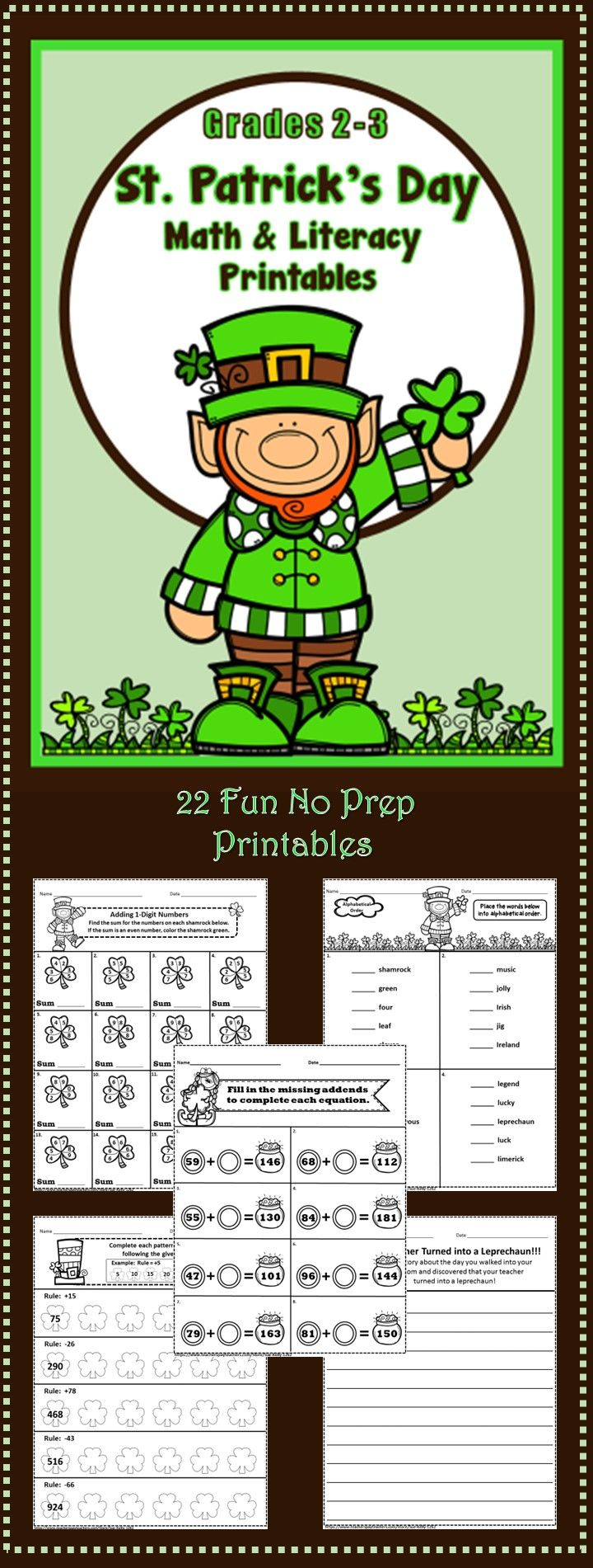 St. Patrick\'s Day Printables - Grades 2-3 | Literacy, Math and ...