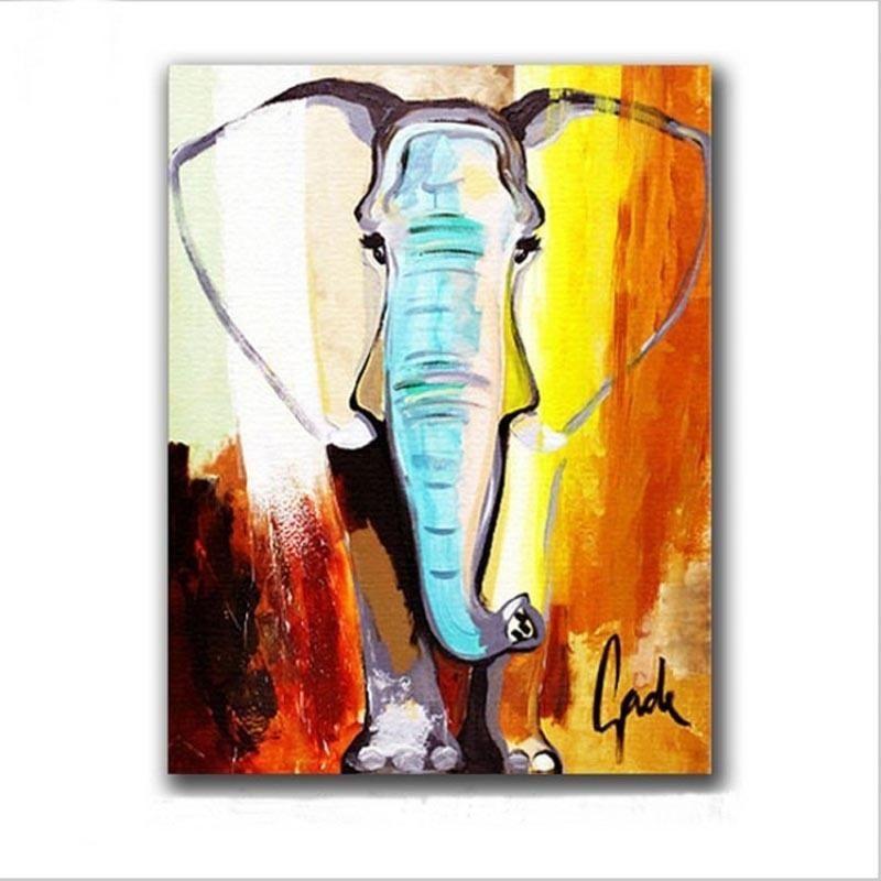 Compre Regalo De Arte De La Lona 100% Pintado A Mano Elefante Pintura Al Óleo Sobre Lienzo Hecho A Mano Pinturas Abstractas De Animales Para La Decoración De La Oficina A 29,54 € Del Paintingart2017