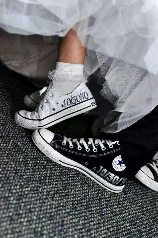 Cute Converse Shoes Wedding Bride Groom Matching